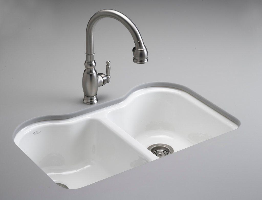 KOHLER K-5818-5U-0 Hartland Double Equal Undercounter Sink
