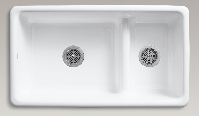 Double Basin Cast Iron Top Mount Kitchen Sink