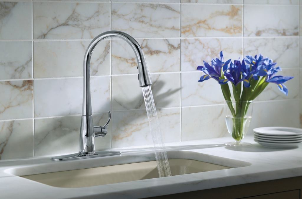 7 Faucet Finishes For Fabulous Bathrooms: KOHLER K-596-VS Simplice Single-Hole Pull-down Kitchen