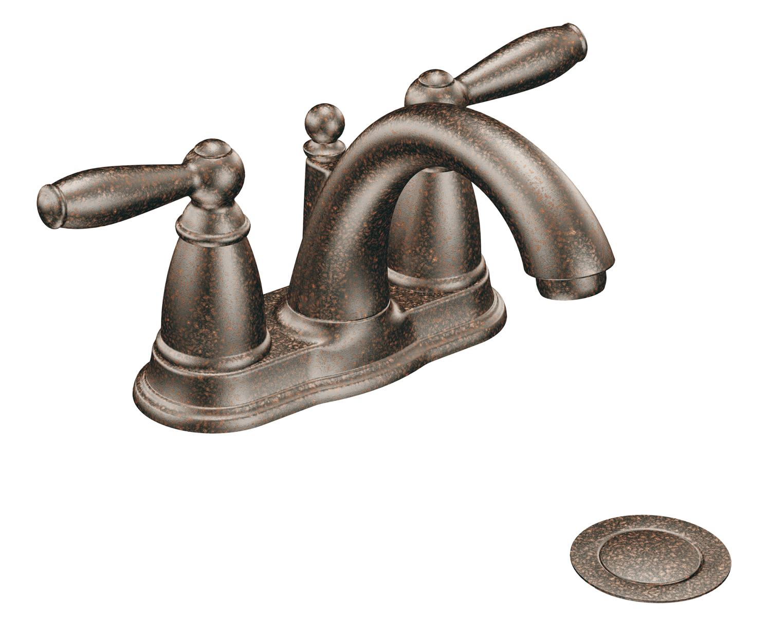 7 Faucet Finishes For Fabulous Bathrooms: Moen 6610ORB Brantford 2-Handle Lavatory Faucet With Drain