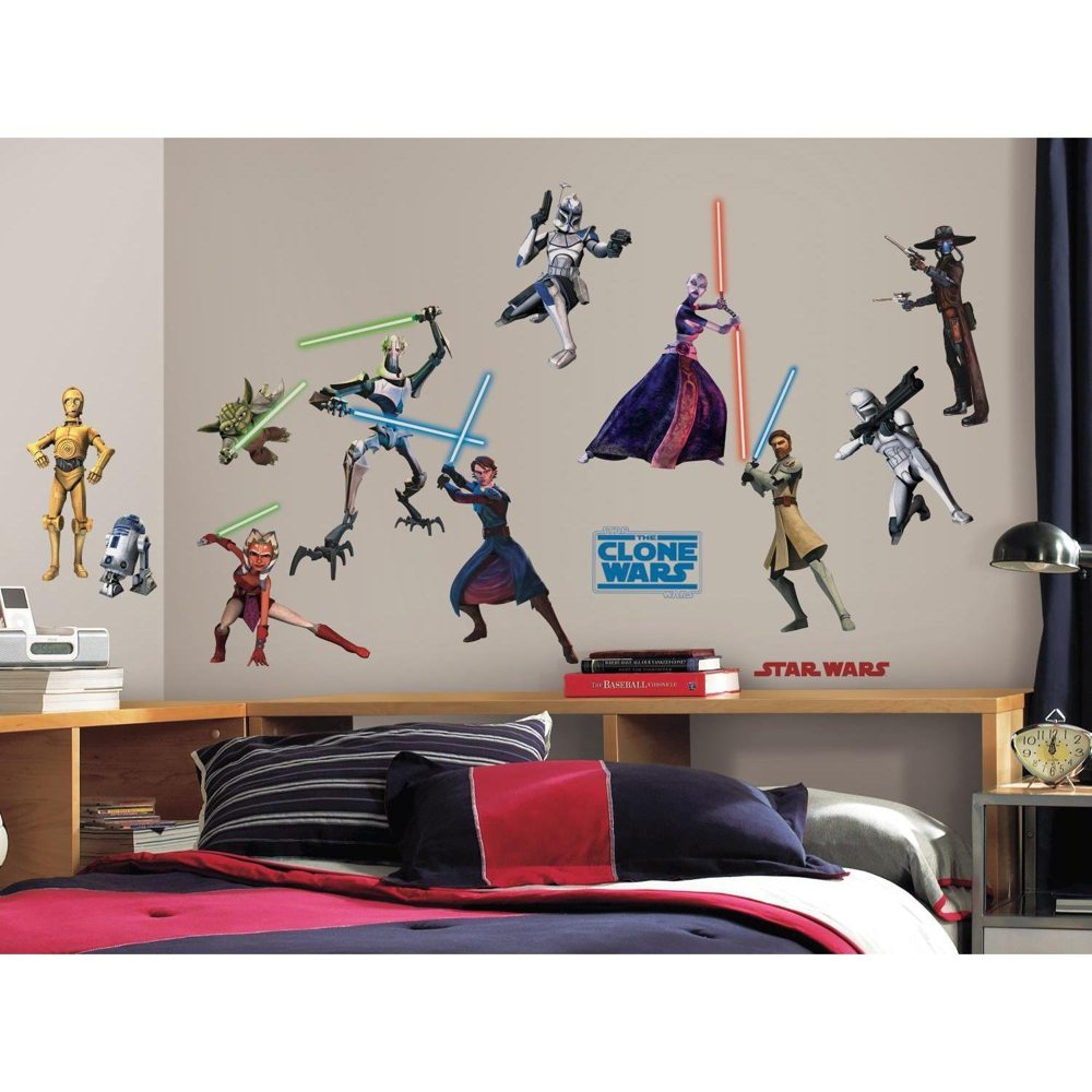 roommates rmk1382scs star wars the clone wars glow in the dark wall decals pack of. Black Bedroom Furniture Sets. Home Design Ideas