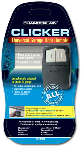 Program Car Garage Door Opener >> Chamberlain KLIK1U Clicker Transmitter Universal Garage Door Remote Control - Garage Door Opener ...
