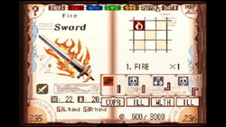 The Book of Prophecy opened to the Fire Sword page from 'Avalon Code' for DS