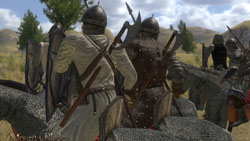 Weapons and armor detail of calvary unit as seen from behind in Mount & Blade: Warband
