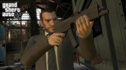 Niko with an automatic weapon in GTA IV
