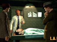 Phelps gathering information regarding a cadaver from L.A. County Coroner Malcom Carruthers in L.A. Noire