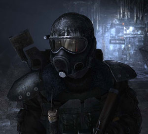 Game hero Artyom in full gear and gas mask in Metro 2033