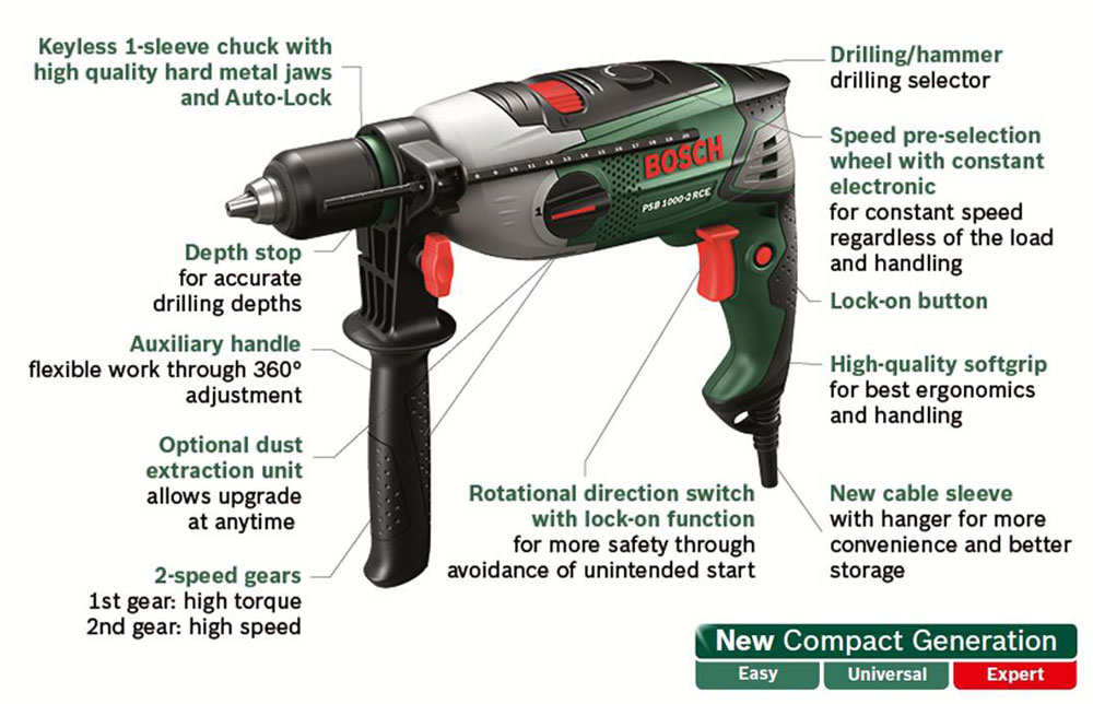 Bosch Psb 1000 2 Rce Hammer Drill Amazon Co Uk Diy Amp Tools