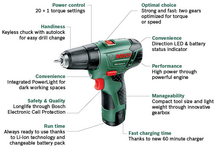 bosch psr 10 8 li 2 cordless lithium ion drill driver with 1 x 10 8 v battery 1 3 ah. Black Bedroom Furniture Sets. Home Design Ideas