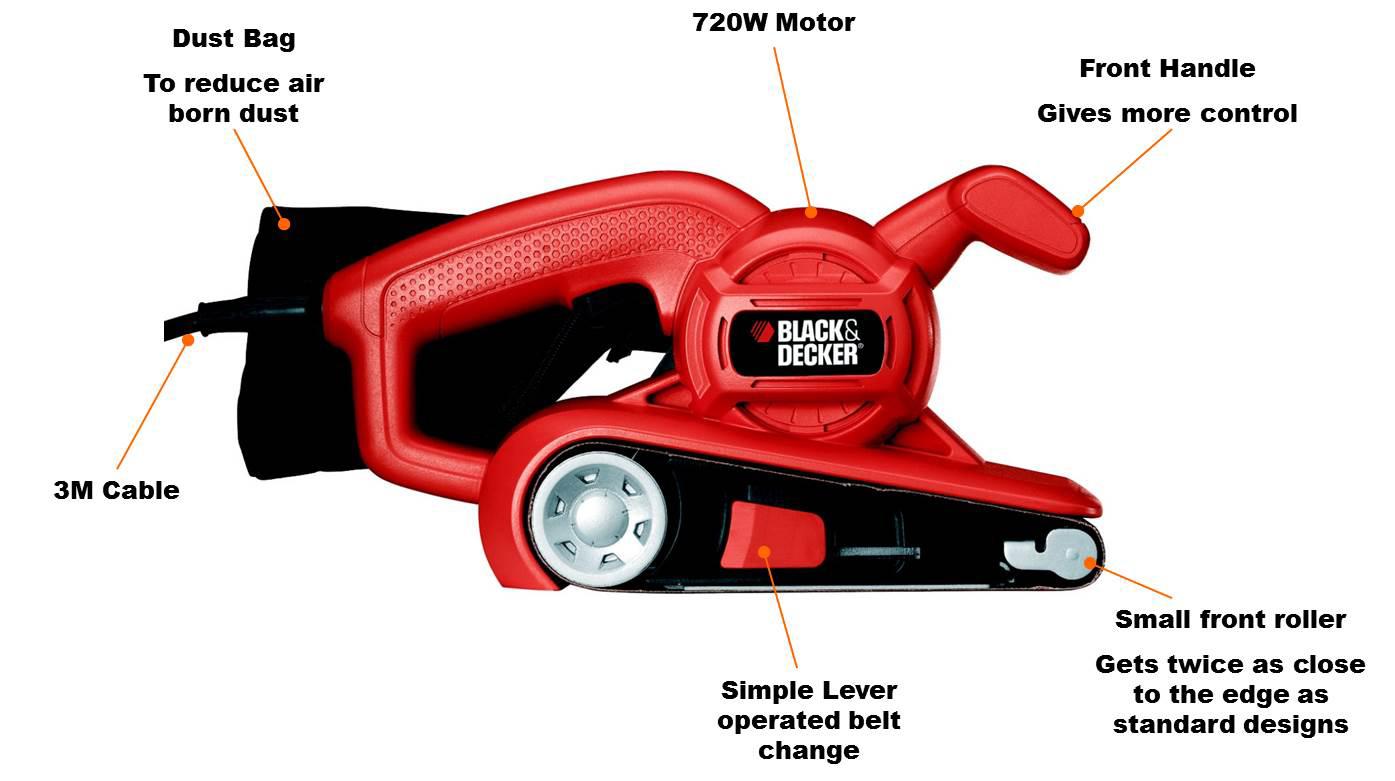 Black Amp Decker Ka86 Belt Sander 75 X 457 Mm Amazon Co Uk