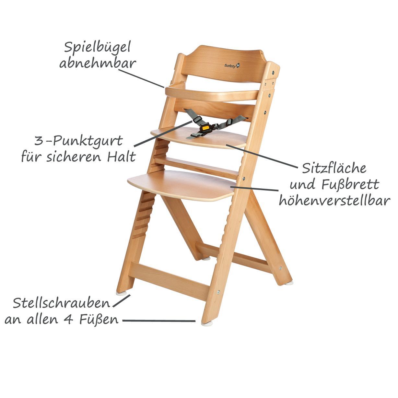 safety 1st timba basic baby stuhl kinder holz hochstuhl buche natur gro. Black Bedroom Furniture Sets. Home Design Ideas