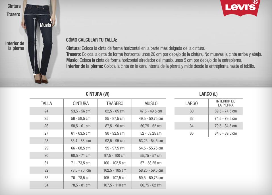 en venta 2ec70 2b3af pantalones levis tallas