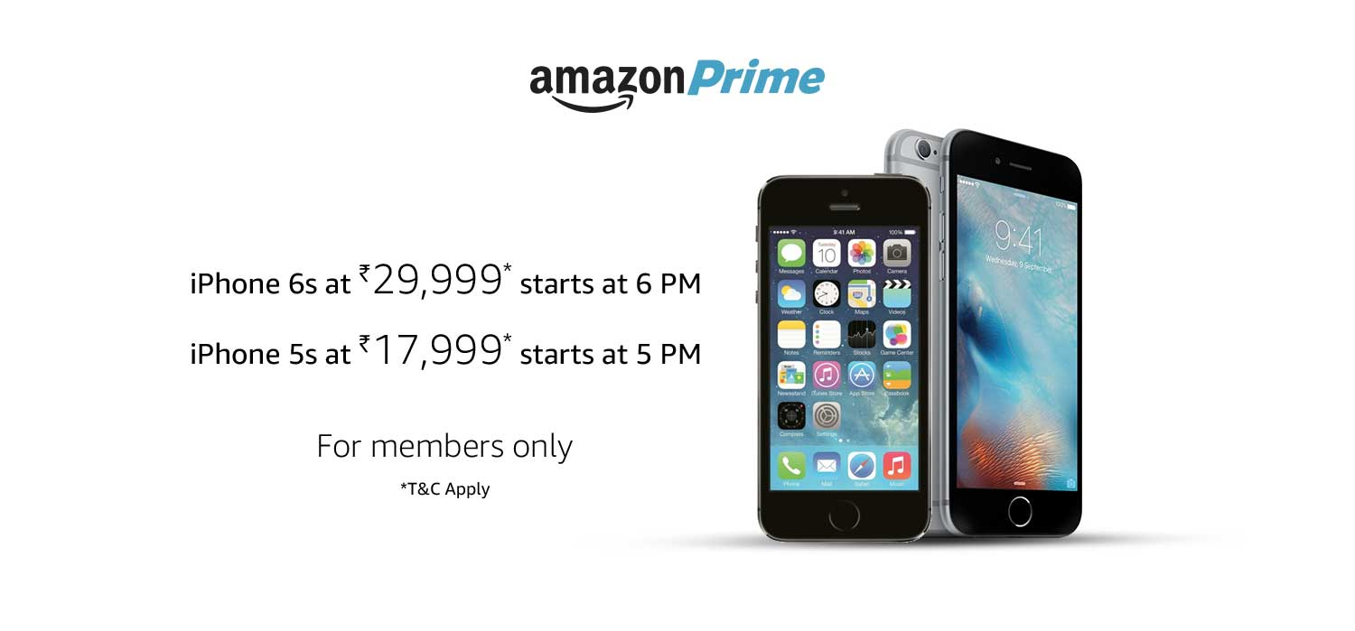 new product 020f7 339ee Apple iPhone 6s / 5s 16GB for Rs 29999 / Rs 17999 in Amazon Prime ...