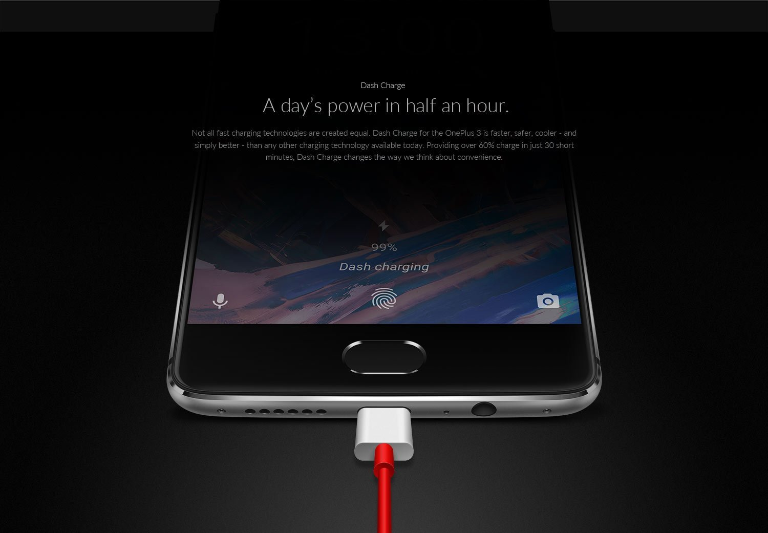 Not all fast charging technologies are created equal. Dash charge for the One Plus 3 is faster, safer, cooler – and simply better –than any other charging technology available today. Providing over sixty percentage charge in just thirty minutes. Dash charge changes the way we think about convenience