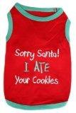 Parisian Pet Sorry Santa I Ate Your Cookies Dog T-Shirt, Medium