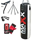 5pcs Punch bag set 5ft blk/Red Rex Leather boxing punchbag wall Bracket & Gloves