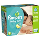 Pampers Baby Dry Diapers Size-4 Economy Pack Plus, 180-Count