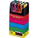 Uniball Uni Posca 15-Piece Brush-Tip Marker Set Assorted to Water-Based Pigmentation Ink Fine Cone Tip