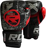 RDX Cow Hide Leather Gel Boxing Gloves Sparring Punching Glove Bag Mitts Training Muay Thai T1 BLACK 10 OZ