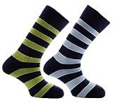 Horizon Deluxe Merino Outdoor 2 Pack Sock - Hoops Navy/Sky & Navy/Green, Size 8-12