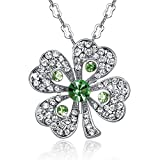 GoSparking Green Crystal 18K White Gold Plated Alloy Four-Leaf Clover Pendant Necklace with Austrian Crystal For Women NL68416