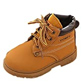 Koly Sin Adición de algodón, Bebé Niño del ejército del estilo Martin botas, zapatos calientes del invierno (21, Amarillo)