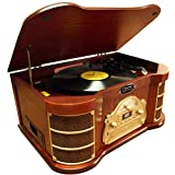 PyleHome PTCDS2UI Classical Turntable with AM/FM Radio/CD/Cassette/USB Recording and iPod Player