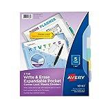 Avery 16183 Separador Borrable Writeon, Plástico Durable con Bolsas Expandibles, Tamaño Carta 5 Pestañas, 1 Set, Multicolor