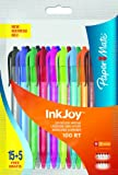 Paper Mate Inkjoy 100 RT Retractable Ball Pen Medium Tip - Assorted Colours (Pack of 15 + 5)