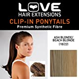 Love Hair Extensions India Crocodile Clip Synthetic Hair Ponytail Colour 18/22 Ash Blonde / Beach Blonde 16 -Inch