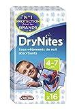 Huggies DryNites - Calzoncillos Absorbentes para niños, 4-7 años (17 - 30 Kg) - Pack de 2 unidades