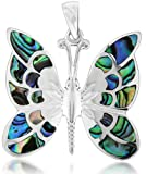 Tuscany Silver Sterling Silver Pave Shell Butterfly Pendant
