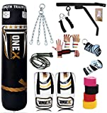 New17 Piece 5ft heavy Filled Boxing Punch Bag Set,Gloves,Bracket,Chains MMA Pad