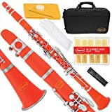 Lazarro 150-OR-L B-Flat Bb Clarinet Orange Red-Silver Keys with Case, 11 Reeds, Care Kit and Many Extras