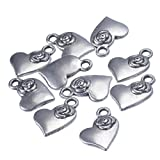 HOUSWEETY 50pcs Charms Heart With Flower Antique Silver Alloy Charms Pendants Findings Fit Handmade Crafts
