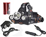 Boruit 5000Lumen CREE XM-L XML 3 x T6 LED Headlight Light Headlamp Head Lamp Flashlight+ 2 x 18650 Battery + 1 x AC Charger + 1 x Car Charger For Outdoor Sports Like Cmaping Hiking Fishing