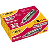 BiC Marking Onyx 1481 Chisel Tip Permanent Marker (Box of 12) - Red
