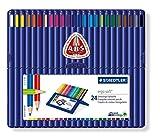 Staedtler Ergosoft 157 SB24 Triangular Colouring Pencils - Assorted Colours (Pack of 24)