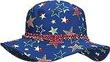 Playshoes Girl's UV Sun Protection Sun Swim Cap Stars Hat, Blue (Original), Medium (Manufacturer Size:53cm)