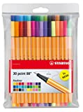 STABILO Point 88 Fineliner Ballpoint Pen - Assorted Colours (Wallet of 30)