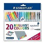 Staedtler Triplus Fineliner Desktop Box - Assorted Colours, Pack of 20