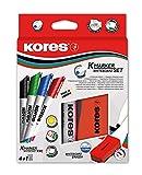 Kores XW1 Whiteboard Marker Set + Magnetic Eraser, Bullet Tip (Set of 4 Colours)