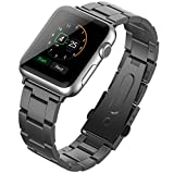 Apple Watch Band, JETech® 42mm Stainless Steel Strap Wrist Band Replacement w/ Metal Clasp for Apple Watch All Models 42mm - Black