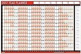 2017 A1 planificador calendario de pared anual laminado con borrado en seco Pen & adhesivo puntos, color diseño 1