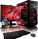 'VIBOX Warrior 4 - computer per gaming, 21.5, AMD FX-6300, 8 GB de RAM, 1 TB de disco rigido, AMD Radeon R7 370): Neon rosso - Tastiera QWERTY Inglese