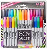 Sharpie Permanent Markers, Fine Point, Limited Edition 80s Glam Colours - Pack of 24